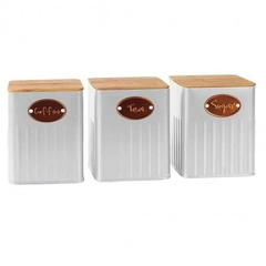 "KIT DE 3 POTES PORTA CONDIMENTO BRANCO ""COFFEE, TEA, SUGAR"""
