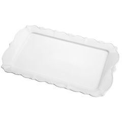 TRAVESSA PORCELANA FANCY BRANCO 36x22x3cm