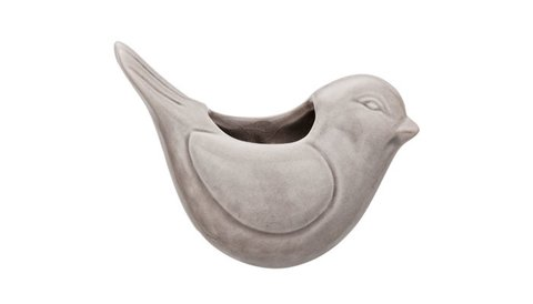 Cachepot little bird cinza