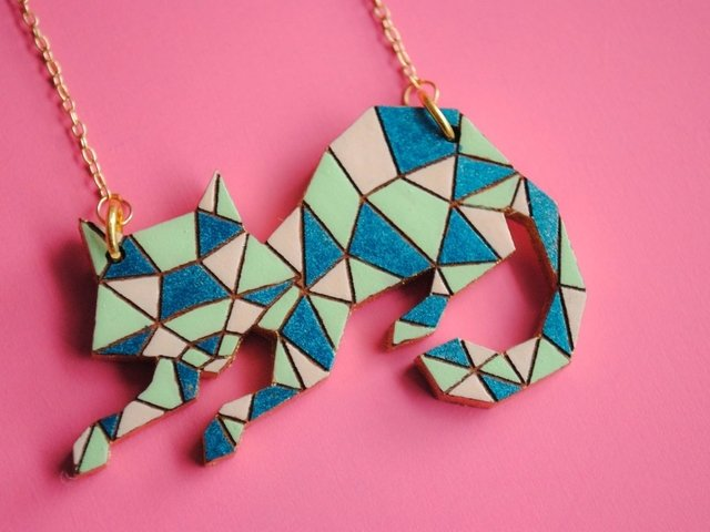 Collar Gato Polygonal Azul - Cocco Color