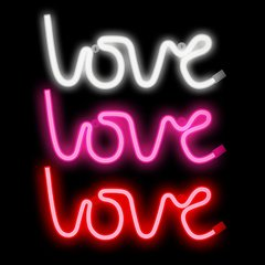 Cartel Neon Frase Love Amor Colores