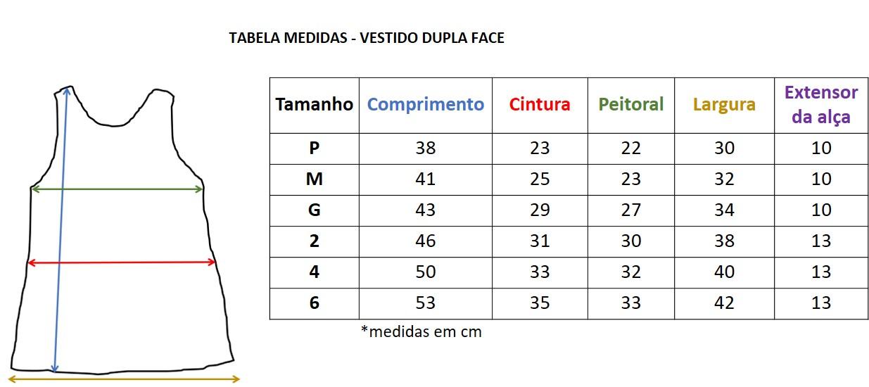 tabela de medidas vestido dupla face