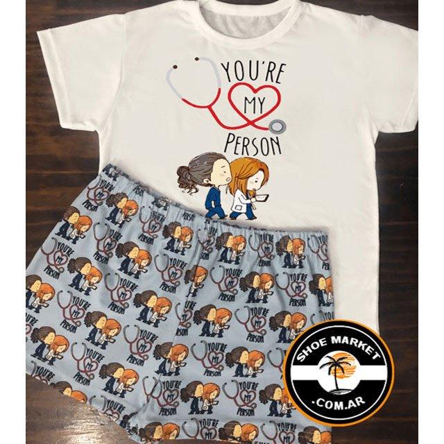 brillante n color seleccione para auténtico nuevo autentico Combo Short + Remera Pijama Grey's Anatomy