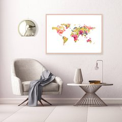 CUADRO WORLD MAP OF FLOWERS MUSTARD