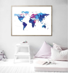 CUADRO WORLD MAP POWERFUL BLUE