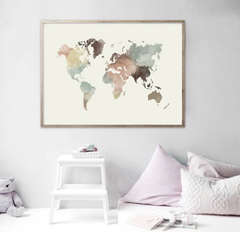 CUADRO WORLD MAP POWERFUL POPURRI COLOR