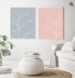 SET PASTEL LEAVES PINK & BLUE