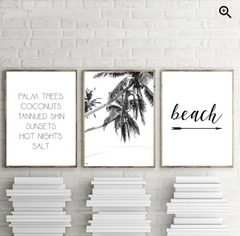 SET BEACH PALM TREES