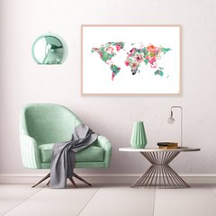 CUADRO WORLD MAP OF FLOWERS AQUA
