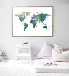 CUADRO WORLD MAP POWERFULL GREEN COLOR