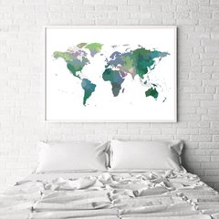CUADRO WORLD MAP POWERFUL GREEN COLOR