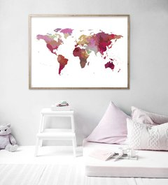 CUADRO WORLD MAP POWERFULL  COLOR