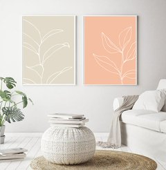 SET  PASTEL LEAVES SALMON & NUDE