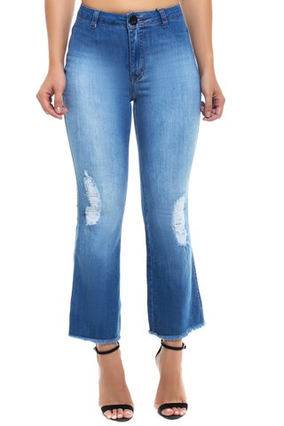 Calça Jeans Mid Rise Flare Cropped Z-32 Azul