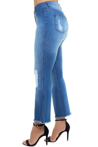 Calça Jeans Mid Rise Flare Cropped Z-32 Azul - comprar online