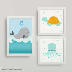 Fundo do Mar little - Kit quadros