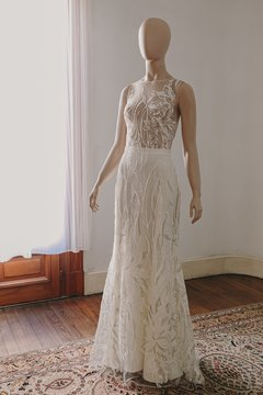 Off White & Golden Garden Wedding Dress