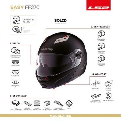 CASCO 370 EASY NEGRO MATE REBATIBLE en internet