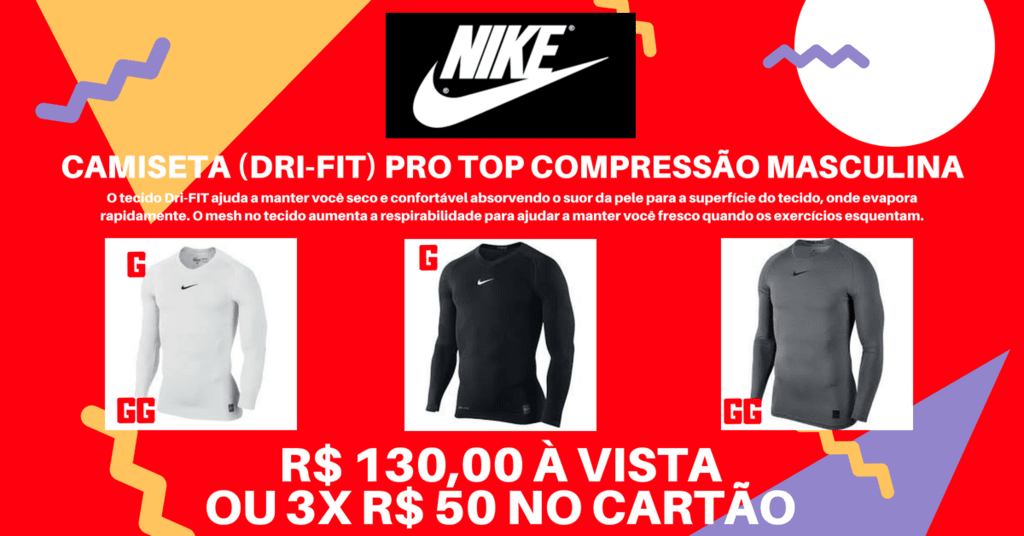 ab37deece0 ... Camisa Nike Pro Top Compressão Manga Longa (Rash Guard) Branca Tam  GG-RN0001