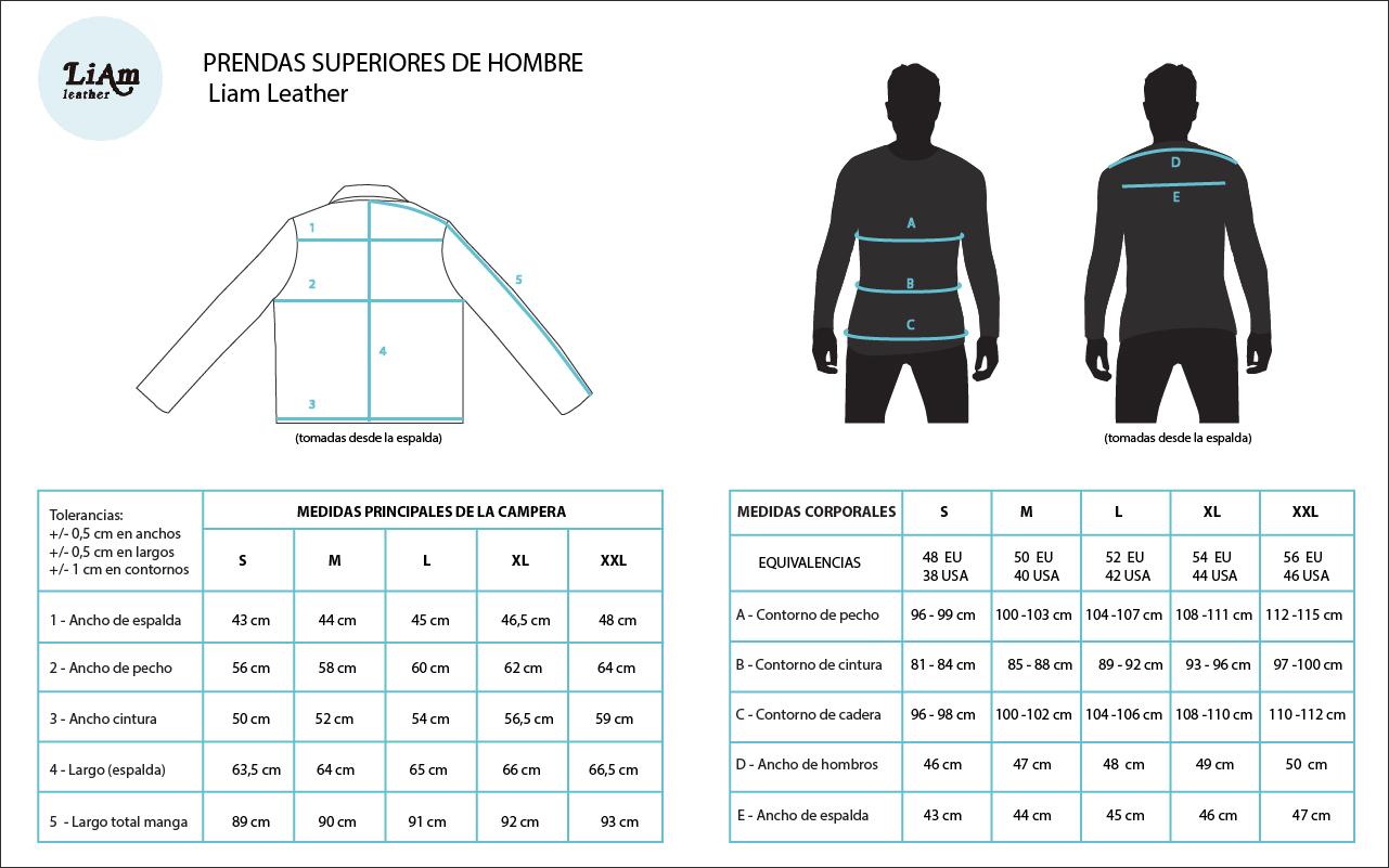 Guía de talles para comprar online camperas de cuero en Argentina