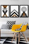Conjunto 3 Quadros Gold Printable Geometric