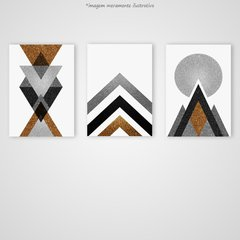 Conjunto 3 Quadros Gold Printable Geometric na internet