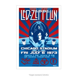 Poster Led Zeppelin - Chicago Stadium 1973 - QueroPosters.com