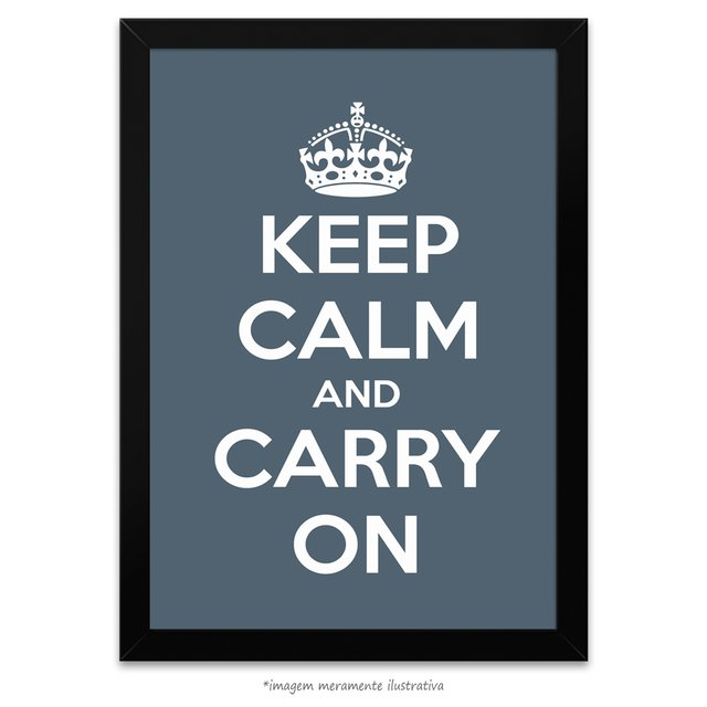 Poster Keep Calm and Carry On - Charcoal
