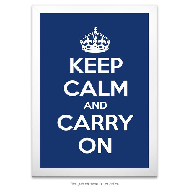 Poster Keep Calm and Carry On - Azul Escuro - comprar online
