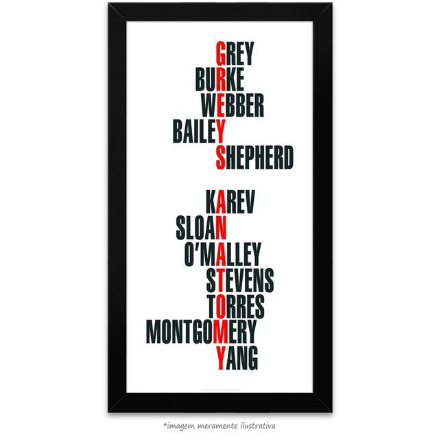 Poster Grey's Anatomy - Nomes