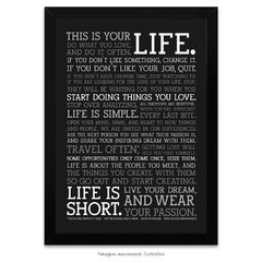 Poster Manifesto - This is your Life - vs Preto - comprar online