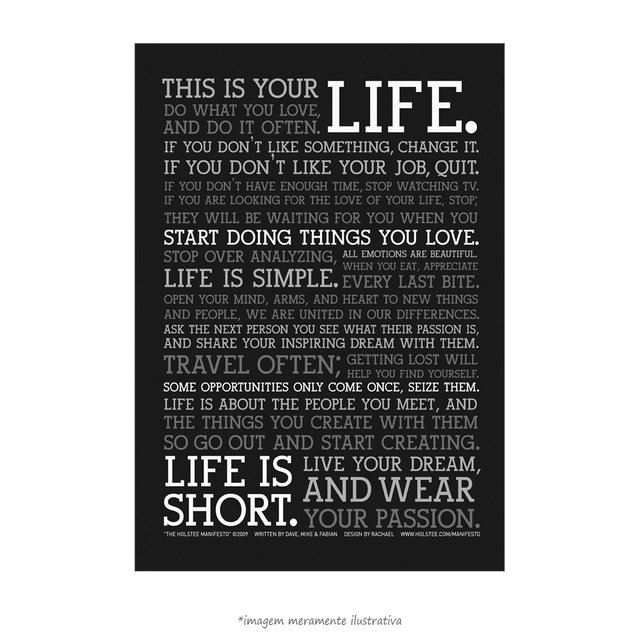 Poster Manifesto - This is your Life - vs Preto - QueroPosters.com