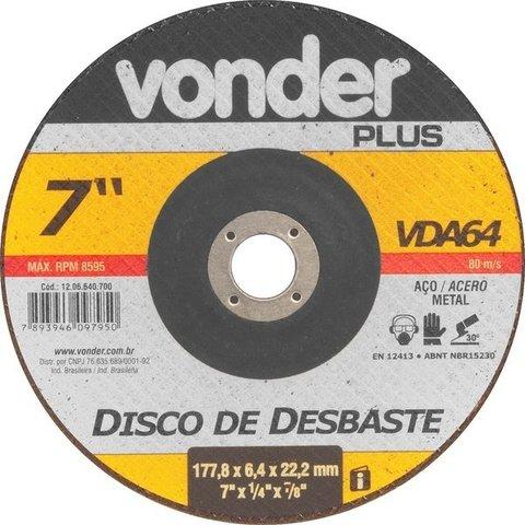 """Disco Desbaste 7"""" 180mm x 6,4 x 22,2 VDA64 VDPL Vonder"""