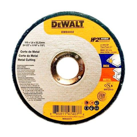 Disco Abrasivo Corte Inox 4 1/2 x 1,6mm x 7/8 DW84402 Dewalt