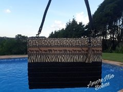 Bolsa Feminina de Palha Clutch Estampa Animal