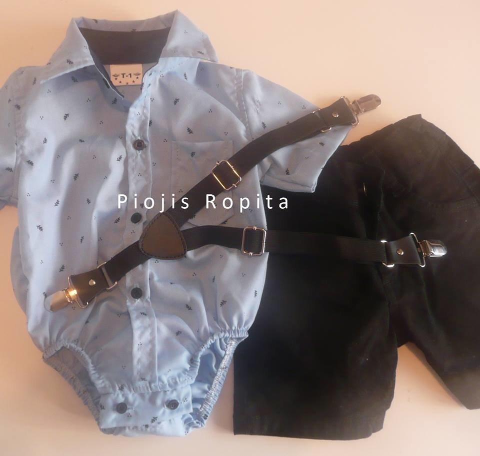 de24b27d6 Set Fiesta Cumpleaños body camisa bermuda gabardina negra y tiradores