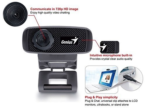WEBCAM GENIUS CAMARA WEB FACECAM 1000X V2 HD 720P C/ MICRÓF - Exxa Store