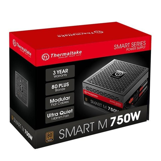 FUENTE PC THERMALTAKE SMART M750W 80 PLUS MODULAR REALES