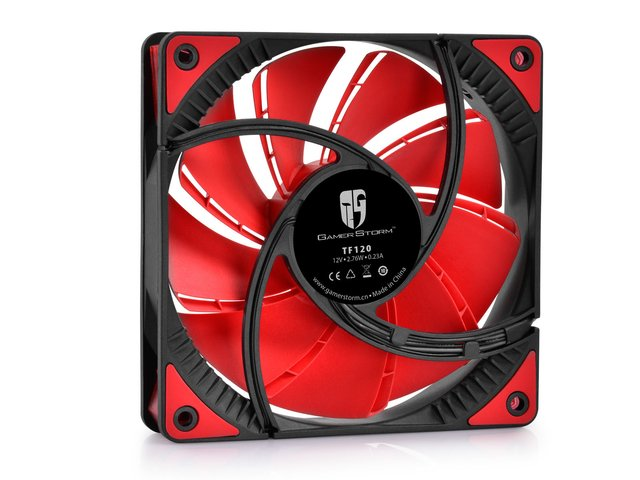 Imagen de FAN COOLER DEEPCOOL GS TF120 RED LED 120X120X26 76.5CFM GTIA