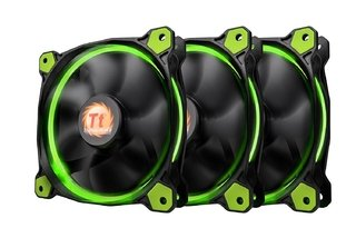 Imagen de FAN COOLER THERMAL RIING 12 LED GREEN RADIATOR 3 PACK GTIA