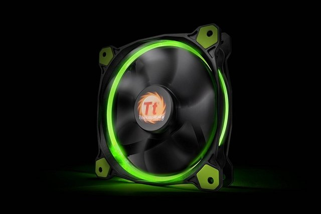 FAN COOLER THERMAL RIING 12 LED GREEN RADIATOR 3 PACK GTIA