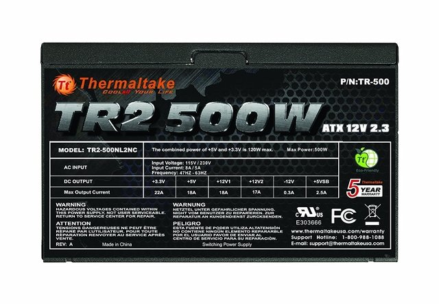FUENTE PC THERMALTAKE TR2 500W FAN 120MM GAMER - tienda online