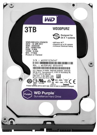 DISCO RIGIDO 3TB 5400 SATA3 WD PURPLE SURVEILLANCE 64MB