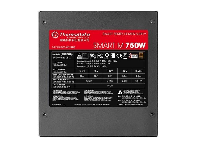 FUENTE PC THERMALTAKE SMART M750W PSU 80 PLUS - comprar online