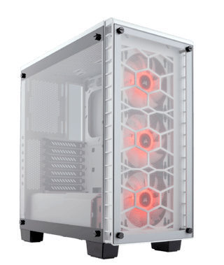Imagen de GABINETE CORSAIR CRYSTAL 460X RGB WHITE FAN X2 MIDTOWER