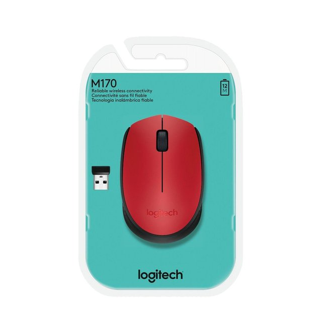 Imagen de MOUSE LOGITECH M170 RED WIRELESS 1 PILA AA 10MTS 910-004941