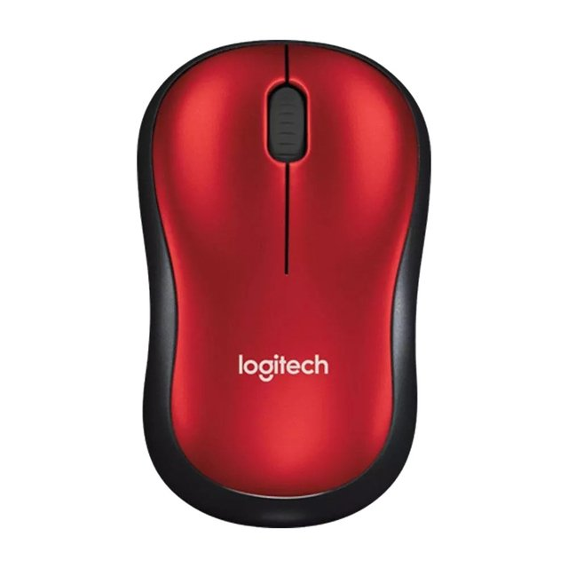 MOUSE LOGITECH M185 RED WIRELESS 1 PILA AA 10MTS 910-003635