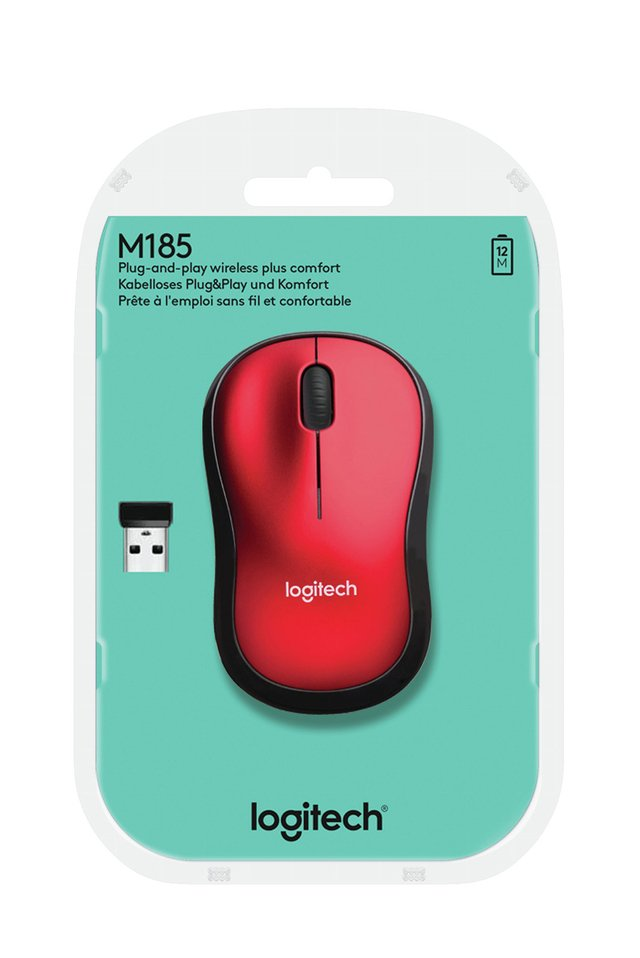 Imagen de MOUSE LOGITECH M185 RED WIRELESS 1 PILA AA 10MTS 910-003635
