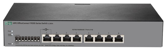 SWITCH HPE 8P OFFICECONNECT 1920S-8G 16GBPS 11.9 MPPS JL380A - tienda online