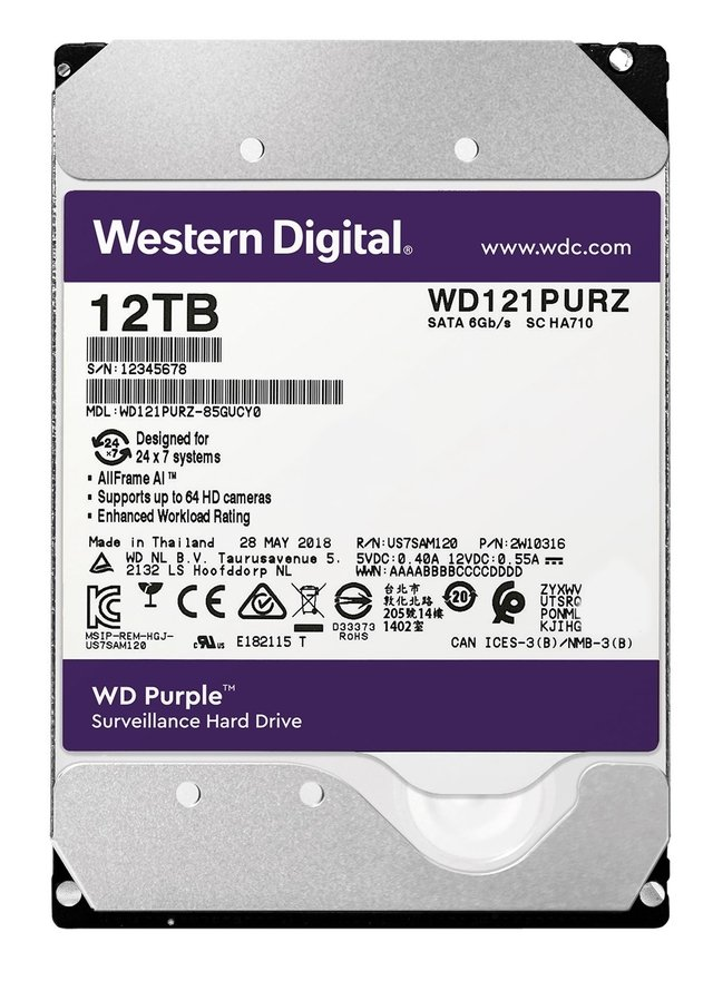 DISCO RIGIDO 12TB WD PURPLE 256MB 7200RPM 3.5 SATA